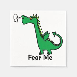 El dragón del dibujo animado me teme servilleta desechable