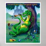 El dragón gana a veces la impresión verde posters