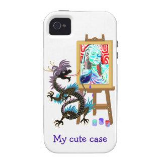 El dragón negro pinta su caja del retrato Iphone4 iPhone 4/4S Funda