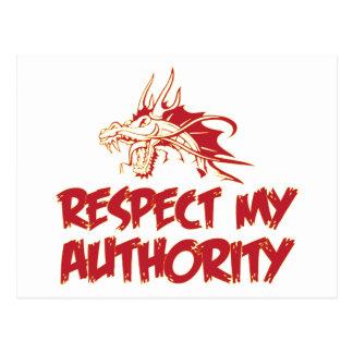 El dragón respeta mi autoridad tarjeta postal