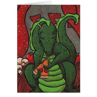El dragón y la pizza tarjetas