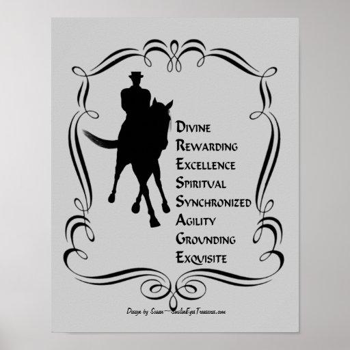 El Dressage es silueta del caballo y del jinete Posters