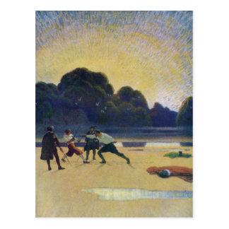 El duelo en la playa postal