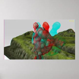 el duende 3D alcanza hacia fuera y toca Póster