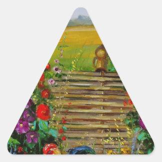 El dueño de la granja pegatina triangular