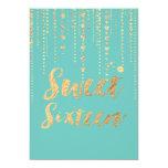 El dulce 16 de PixDezines, las secuencias de oro Invitación 12,7 X 17,8 Cm