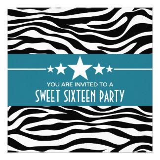 El dulce 16 del estampado de zebra de las estrella comunicados personales