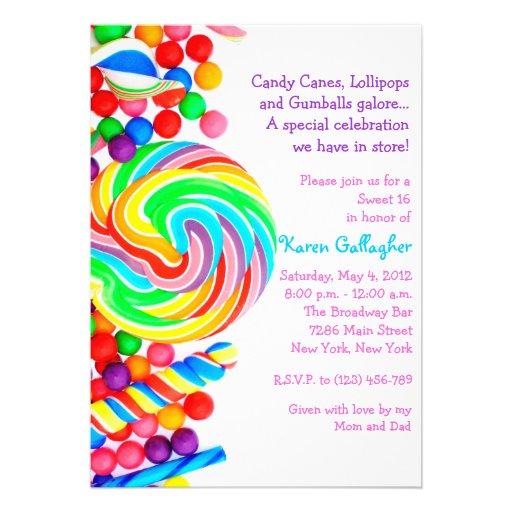 El dulce 16 del tema del caramelo de Candyland inv Comunicado