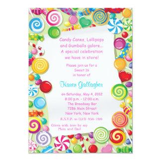 El dulce 16 del tema del caramelo de Candyland Invitacion Personal