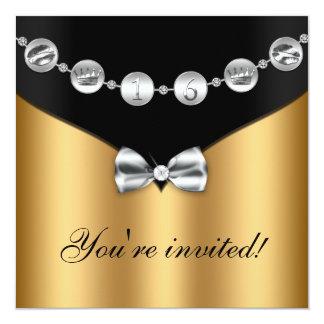 El dulce arqueado plata negra dieciséis del invitación 13,3 cm x 13,3cm