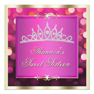 El dulce brillante rosado dieciséis de Bokeh de Invitación 13,3 Cm X 13,3cm