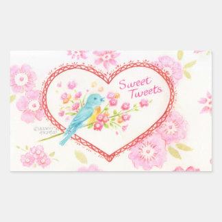 El dulce de los pegatinas del corazón pia pájaro pegatina rectangular