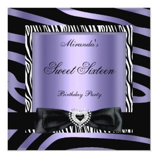 El dulce dieciséis 16 va de fiesta negro blanco invitación 13,3 cm x 13,3cm