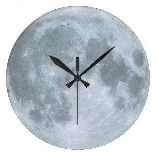 El dulce dormita luna azul del cuarto de niños reloj redondo grande