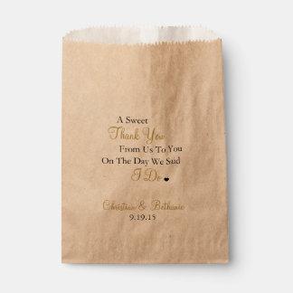 El dulce le agradece personalizó negro y el boda bolsa de papel