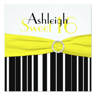 El dulce negro, amarillo, blanco 16 invita a FALSO Invitación 13,3 Cm X 13,3cm