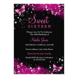 El dulce rosado 16 del diamante de la mariposa de invitación 12,7 x 17,8 cm