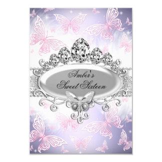 El dulce rosado y púrpura dieciséis de la mariposa invitación 8,9 x 12,7 cm