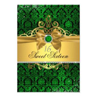 El dulce verde dieciséis del damasco del oro invitación 12,7 x 17,8 cm