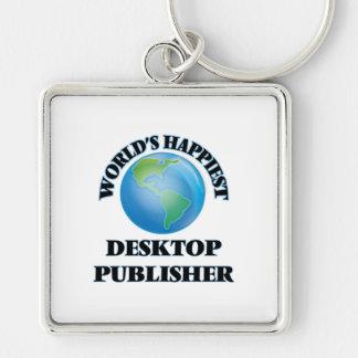 El editor de escritorio más feliz del mundo llavero cuadrado plateado