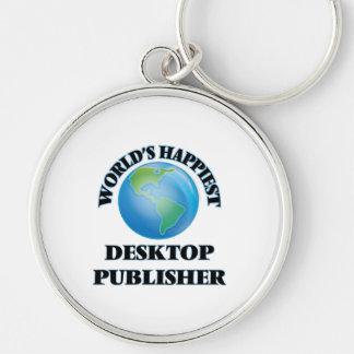 El editor de escritorio más feliz del mundo llavero redondo plateado