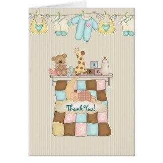 El edredón del bebé le agradece, con verso tarjeta pequeña