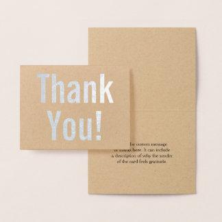 """El efecto metalizado de plata llano """"le agradece!"""" tarjeta con relieve metalizado"""