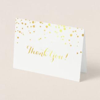 El efecto metalizado del confeti le agradece tarjeta con relieve metalizado