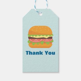El ejemplo de la hamburguesa le agradece etiquetas para regalos