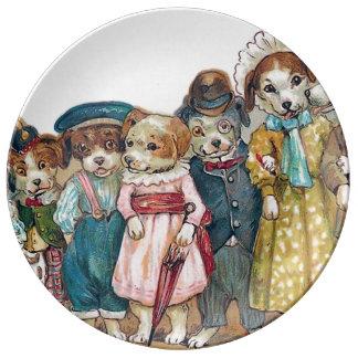El ejemplo del vintage de la familia de perro platos de cerámica