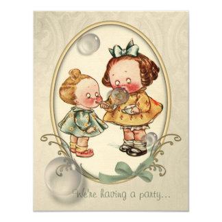 El ejemplo minúsculo del vintage de los niños invitación 10,8 x 13,9 cm