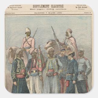 El ejército colonial calcomanías cuadradas