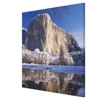 El EL Capitan refleja en el río de Merced en 2 Impresión En Lona Estirada