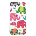 El elefante colorido embroma el caso del iPhone 6 Funda De iPhone 6 Barely There