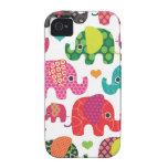 El elefante colorido embroma el caso del iphone de vibe iPhone 4 carcasas
