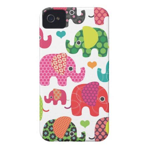 El elefante colorido embroma el caso del iphone de iPhone 4 protector