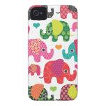 El elefante colorido embroma la caja de la zarzamo Case-Mate iPhone 4 carcasa