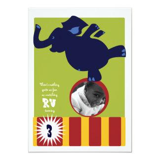 El elefante del circo invita invitación 12,7 x 17,8 cm