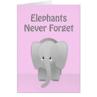 El elefante del cumpleaños nunca olvida la tarjeta