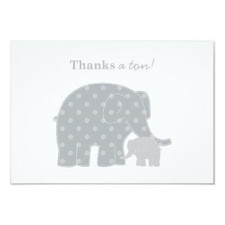 El elefante le agradece plata plana y gris de las invitación 8,9 x 12,7 cm