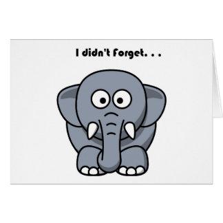 El elefante no olvidó el dibujo animado tarjetón