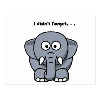 El elefante no olvidó el dibujo animado postal