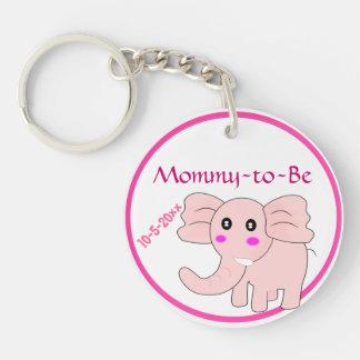 El elefante rosado adorable Mamá-a-Es fiesta de Llavero Redondo Acrílico A Doble Cara