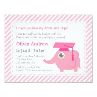 El elefante rosado embroma a la fiesta de invitación 10,8 x 13,9 cm