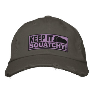 ¡El EMBROIDERED púrpura lo guarda Squatchy - Bo Gorras Bordadas