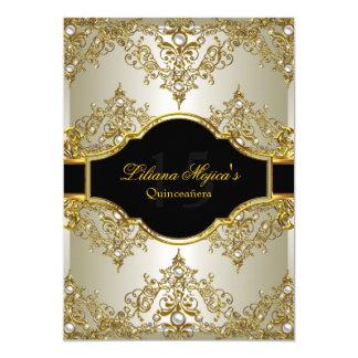 El encanto Quinceanera del vintage de la perla del Invitación 12,7 X 17,8 Cm