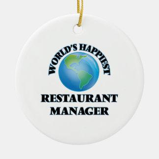 El encargado más feliz del restaurante del mundo adorno redondo de cerámica