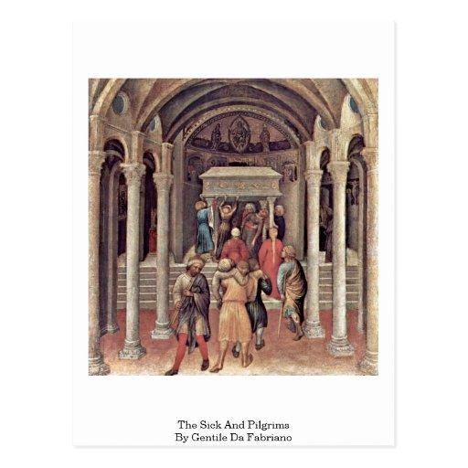 El enfermo y los peregrinos de Gentile da Fabriano Tarjeta Postal