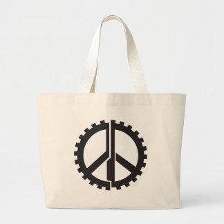 El engranaje de la paz de la PÁGINA Bolsa De Tela Grande