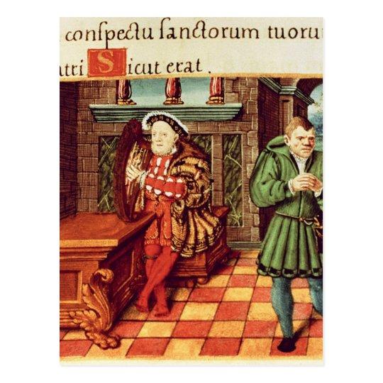 El Enrique VIII que toca una arpa con su tonto lo Postal